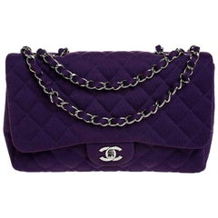 Chanel Purple Quilted Jersey Jumbo Classic Single Flap Bag