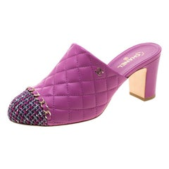 Chanel Purple Quilted Leather CC Tweed Cap Toe Slip On Mules Size 38