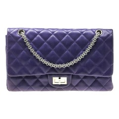 Chanel Purple Quilted Leather Reissue 2.55 Classic 227 Flap Bag