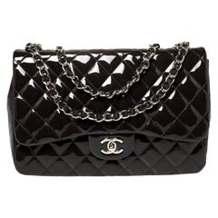 Chanel Purple Quilted Patent Leather Jumbo Classic Single Flap Bag