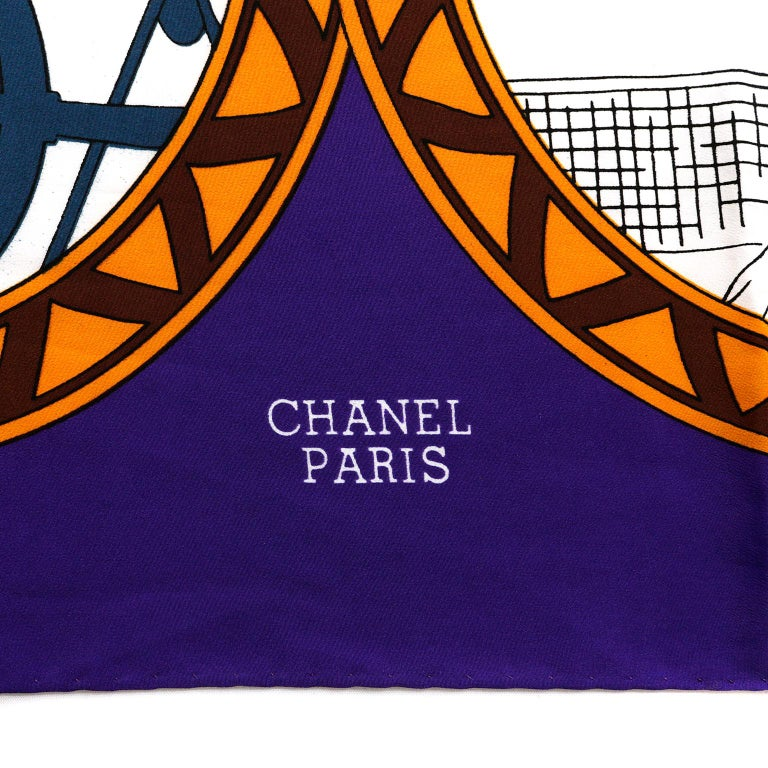 Women's Chanel Purple Silk Rue Cambon Scarf