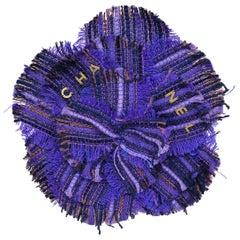 Chanel Purple Tweed Camellia Brooch