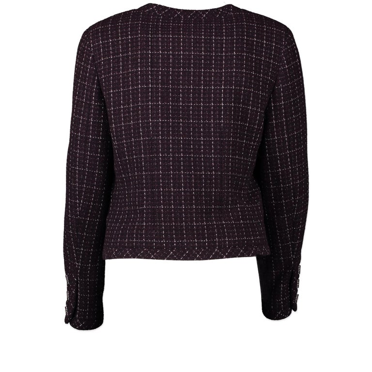 Very good condition  Chanel Purple Tweed Jacket - Size 40  An all time classic that will never ever go out of style has to be the iconic Chanel tweed jacket. This particular one is the perfect pick for those who like to add a little bit more bling