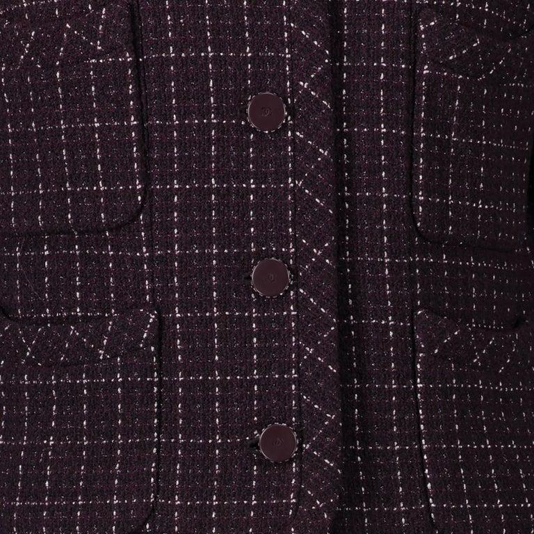 Black Chanel Purple Tweed Jacket - Size 40 For Sale