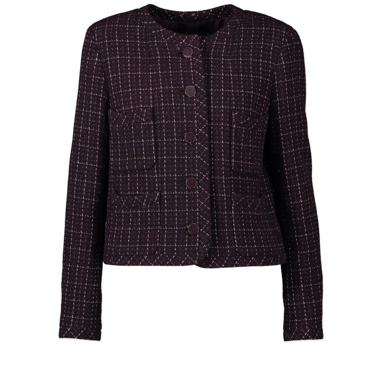 Chanel Purple Tweed Jacket - Size 40 In Excellent Condition For Sale In Antwerp, BE