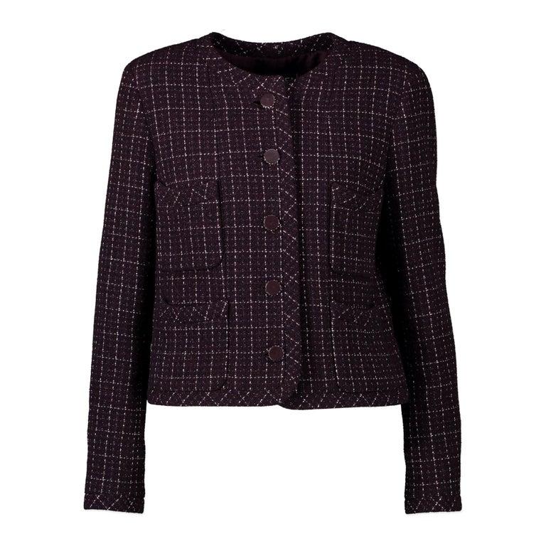 Chanel Purple Tweed Jacket - Size 40 For Sale