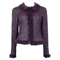 CHANEL purple wool Tweed Fringed Lurex Blazer Jacket 36 XS