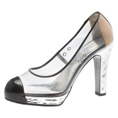 Chanel PVC And Black Patent Leather CC Cap Toe Platform Pumps Size 36.5