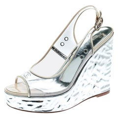 Chanel PVC Metallic Silver Wedge Heel Peep Toe Slingback Sandals Size 36.5