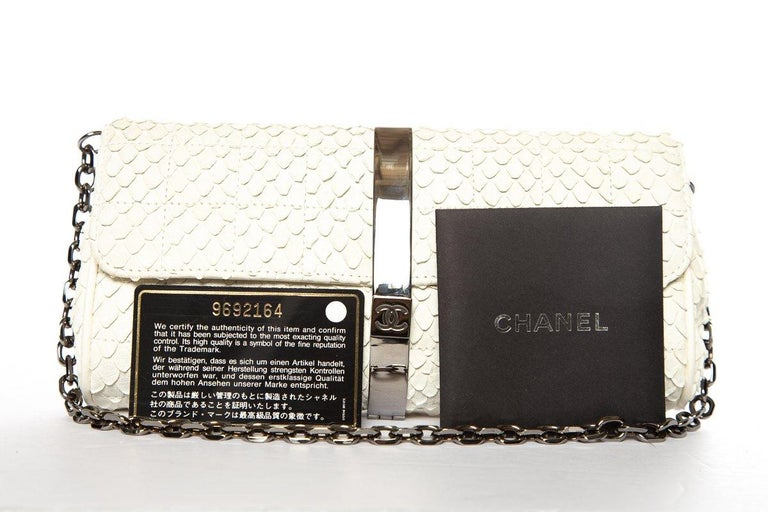 CHANEL  Python Cream Clutch with Chain For Sale 6