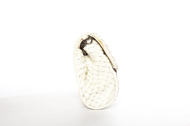 White CHANEL  Python Cream Clutch with Chain For Sale