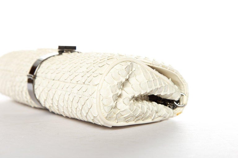 Women's CHANEL  Python Cream Clutch with Chain For Sale