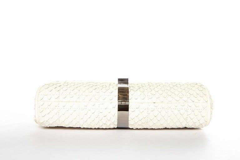 CHANEL  Python Cream Clutch with Chain For Sale 1