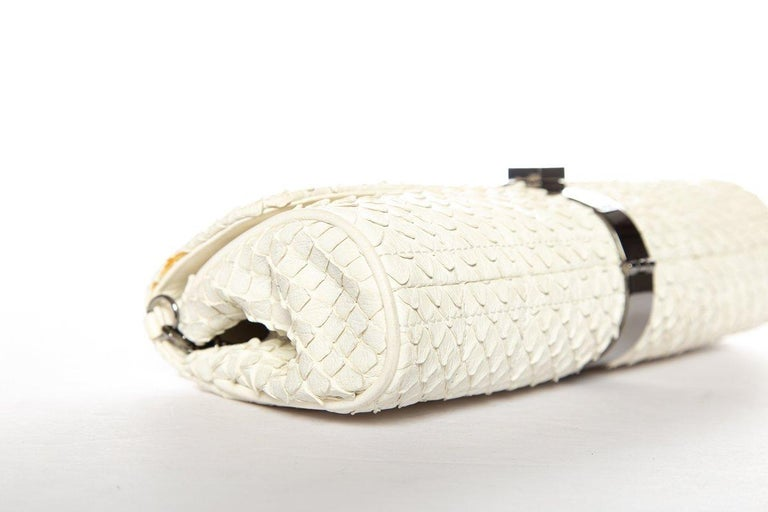 CHANEL  Python Cream Clutch with Chain For Sale 3