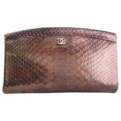 Chanel Python Metallic Bronze Clutch With Top Closure