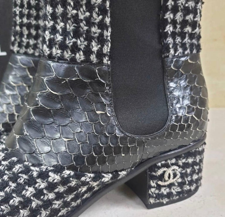 Chanel Python-Trimmed Tweed Ankle Boots For Sale 1