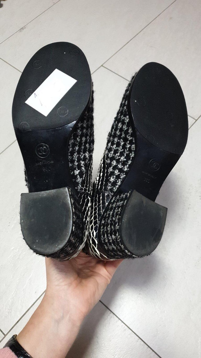 Chanel Python-Trimmed Tweed Ankle Boots For Sale 2