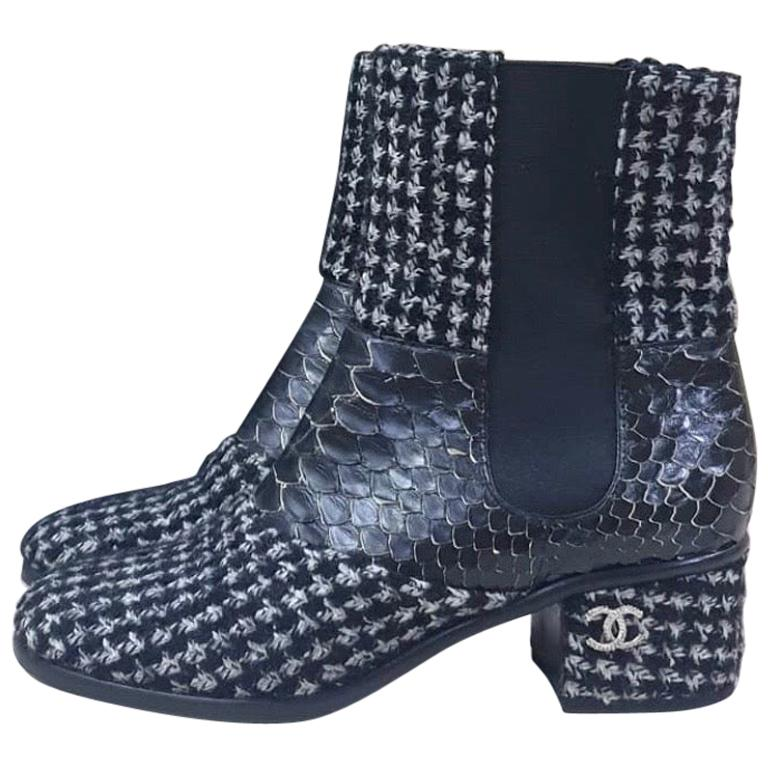 Chanel Python-Trimmed Tweed Ankle Boots For Sale