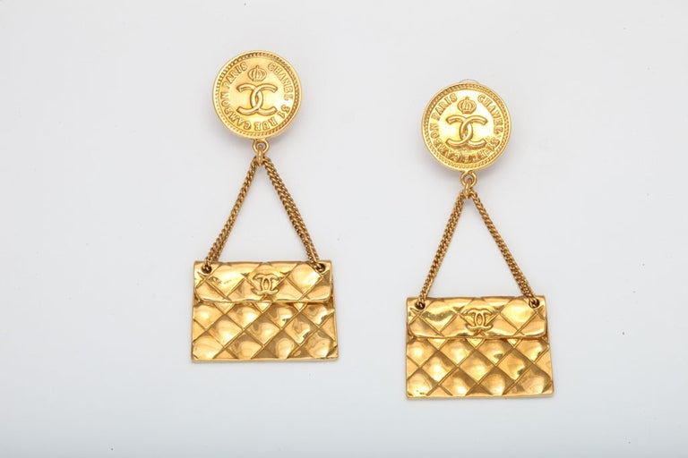 Chanel 2.55 quilted bag motif earrings.