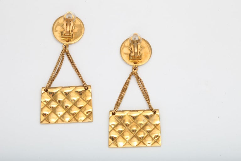 Chanel quilted bag 2.55 motif earrings For Sale 2