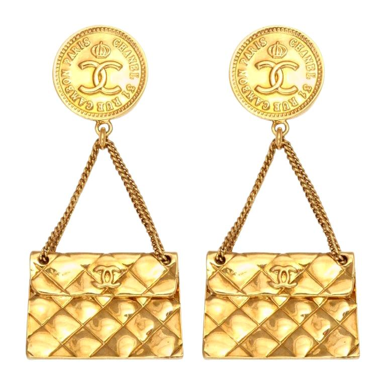 Chanel quilted bag 2.55 motif earrings For Sale