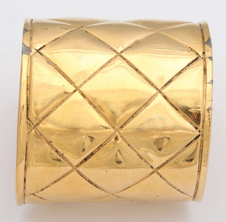 Chanel Quilted Bangle Bracelet In Good Condition For Sale In Chicago, IL