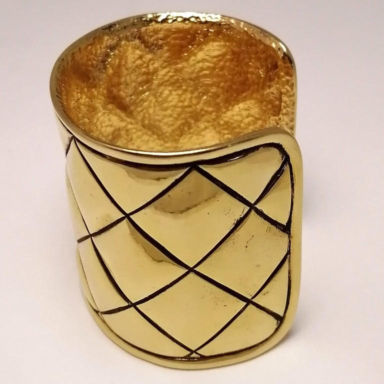 Gilt Chanel Quilted Bangle Bracelet