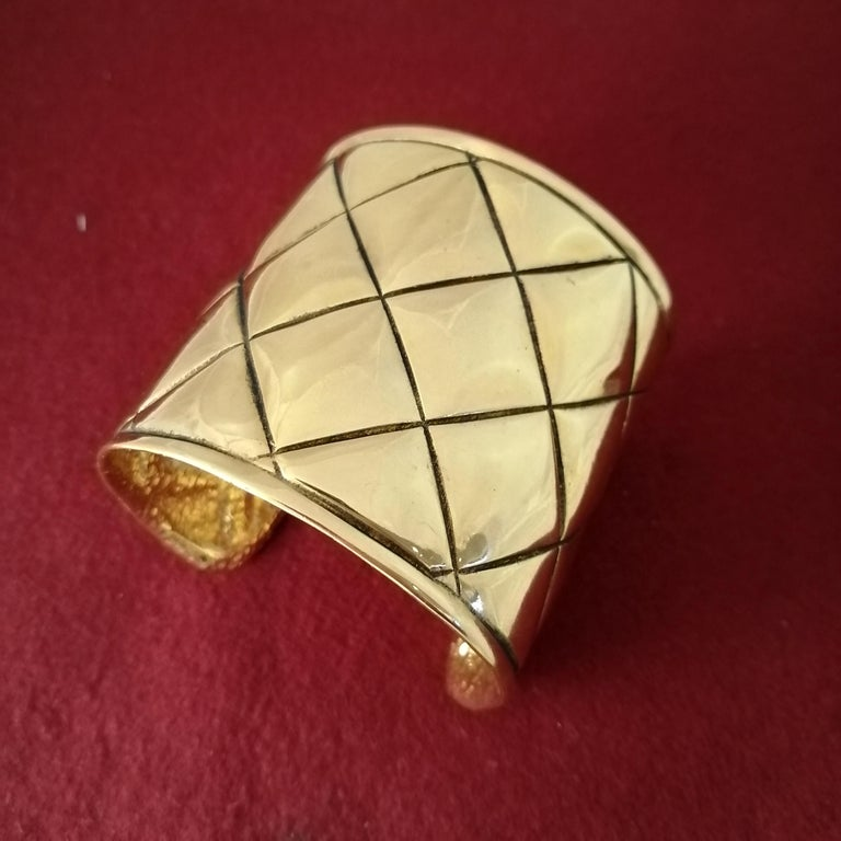 Late 20th Century Chanel Quilted Bangle Bracelet