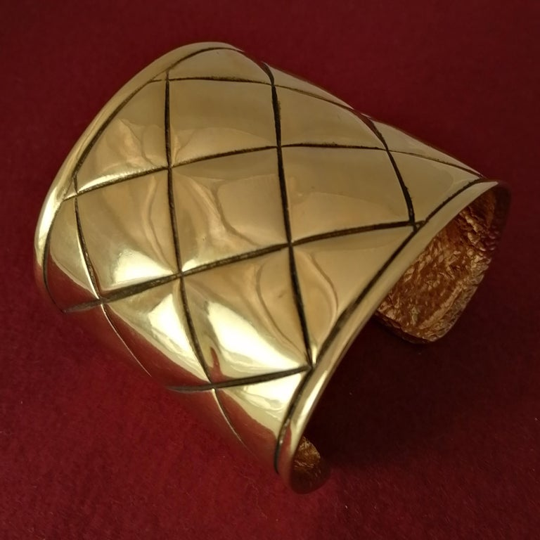 Metal Chanel Quilted Bangle Bracelet