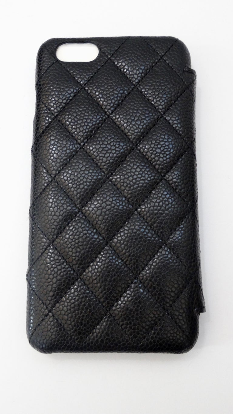 Chanel Quilted Black Caviar 'CC' Iphone 7+/8+ Wallet Case For Sale 2