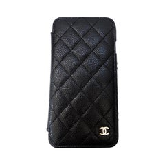 Chanel Quilted Black Caviar 'CC' Iphone 7+/8+ Wallet Case