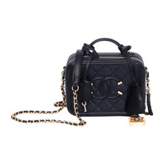 Chanel Quilted Black Caviar Leather Small CC Filigree Vanity Case Bag