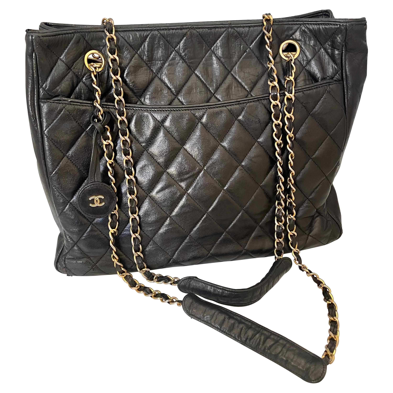 Chanel Quilted Black Caviar Skin Grand Shopper Chain Tote, Golden Hardware