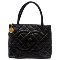 Chanel Quilted Black CC Medallion Tote Bag