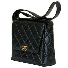 Chanel Quilted Black Lambskin 23cm Shoulder Bag by Karl Lagerfeld