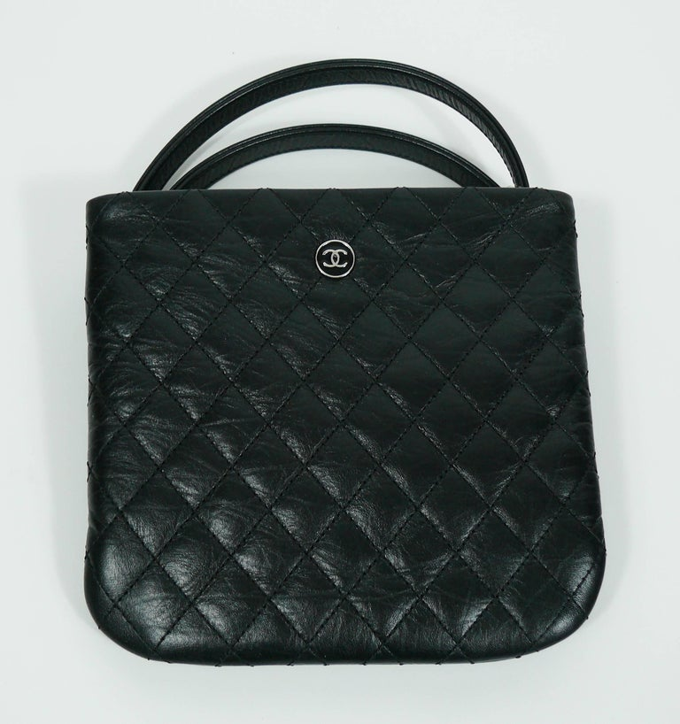 e471fa04d91 Chanel Quilted Black Leather Employee Uniform Crossbody Bag In Excellent  Condition For Sale In French Riviera