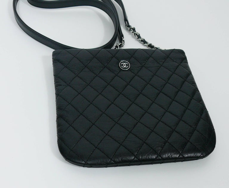 Chanel Quilted Black Leather Employee Uniform Crossbody Bag  For Sale 1