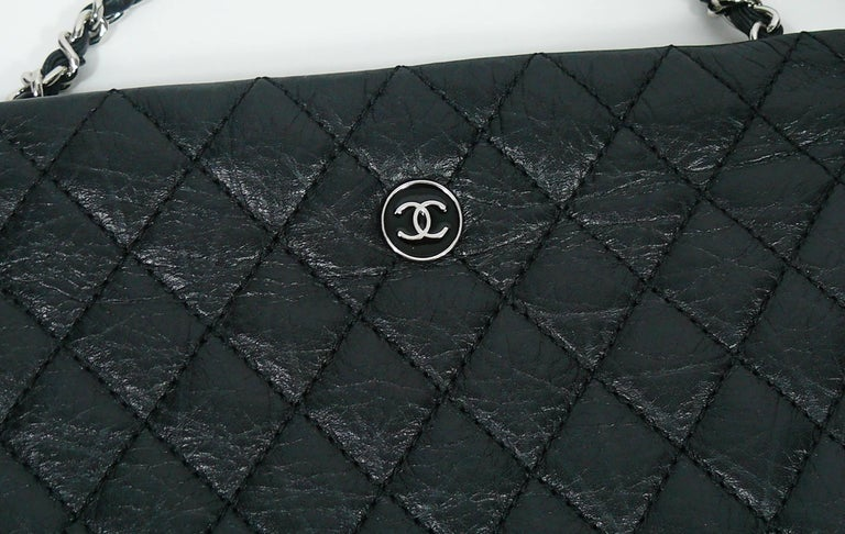 Chanel Quilted Black Leather Employee Uniform Crossbody Bag  For Sale 2