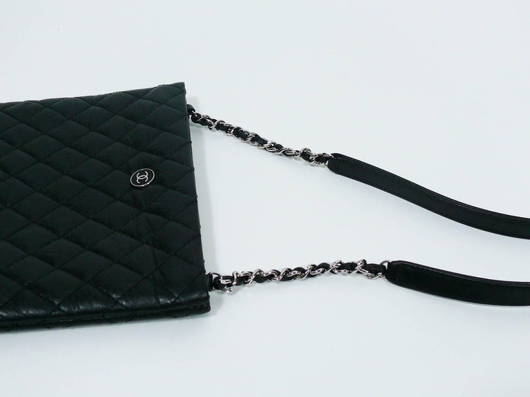 Chanel Quilted Black Leather Employee Uniform Crossbody Bag  For Sale 3