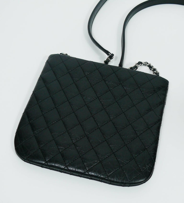 Chanel Quilted Black Leather Employee Uniform Crossbody Bag  For Sale 4