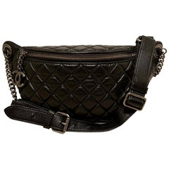 Chanel Quilted Black Leather Banane Fanny Pack Bum Bag