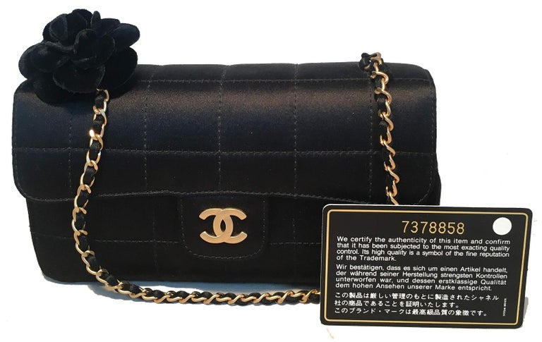 Chanel Quilted Black Silk Mini Camellia Classic Flap Shoulder Bag For Sale 7
