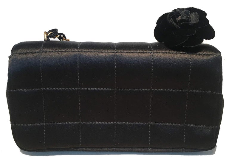 Chanel Quilted Black Silk Mini Camellia Classic Flap Shoulder Bag In Excellent Condition For Sale In Philadelphia, PA