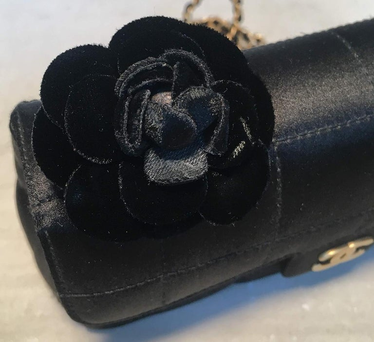 Chanel Quilted Black Silk Mini Camellia Classic Flap Shoulder Bag For Sale 2