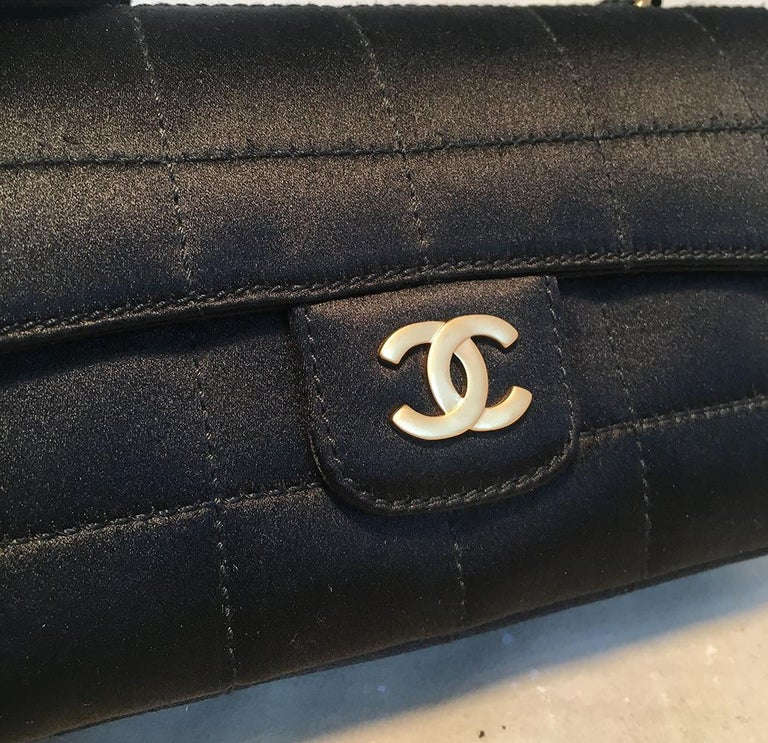Chanel Quilted Black Silk Mini Camellia Classic Flap Shoulder Bag For Sale 3