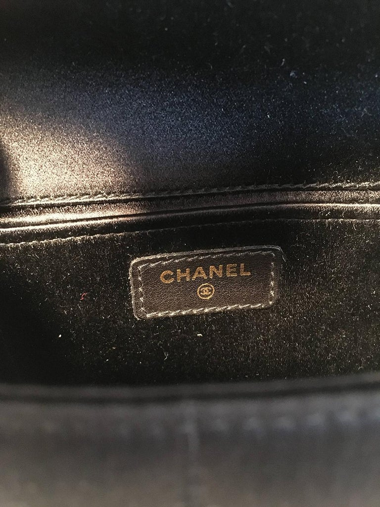Chanel Quilted Black Silk Mini Camellia Classic Flap Shoulder Bag For Sale 5
