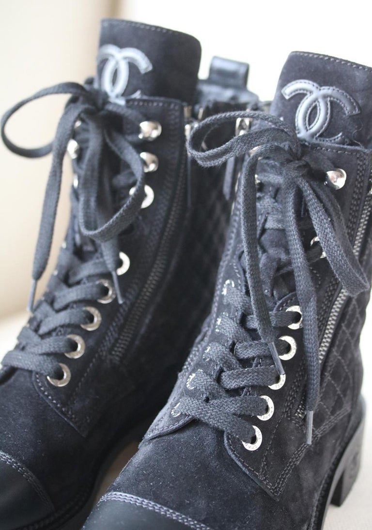 Chanel Quilted Calfskin and Suede High Boots  In Excellent Condition For Sale In London, GB