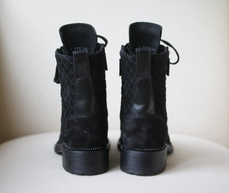 Women's Chanel Quilted Calfskin and Suede High Boots  For Sale