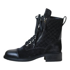 Chanel Quilted Calfskin and Suede High Boots