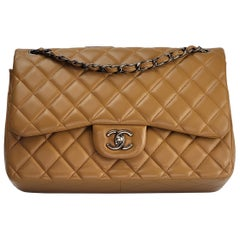 Chanel Quilted Caramel Lambskin Classic Jumbo Double Flap Bag